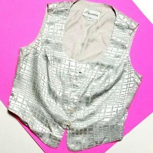 Vintage Gantos Metallic Silver Cropped Vest Top